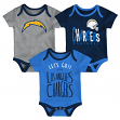 """Los Angeles Chargers NFL """"Little Tailgater"""" Newborn 3 Pack Bodysuit Creeper Set"""