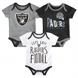 "Oakland Raiders NFL ""Little Tailgater"" Newborn 3 Pack Bodysuit Creeper Set"