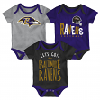 "Baltimore Ravens NFL ""Little Tailgater"" Newborn 3 Pack Bodysuit Creeper Set"