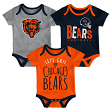 "Chicago Bears NFL ""Lil Tailgater"" Infant 3 Pack Bodysuit Creeper Set"
