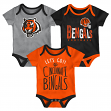 "Cincinnati Bengals NFL ""Lil Tailgater"" Infant 3 Pack Bodysuit Creeper Set"