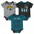 "Jacksonville Jaguars NFL ""Lil Tailgater"" Infant 3 Pack Bodysuit Creeper Set"