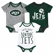 "New York Jets NFL ""Lil Tailgater"" Infant 3 Pack Bodysuit Creeper Set"