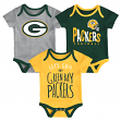 "Green Bay Packers NFL ""Lil Tailgater"" Infant 3 Pack Bodysuit Creeper Set"