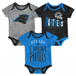 "Carolina Panthers NFL ""Lil Tailgater"" Infant 3 Pack Bodysuit Creeper Set"