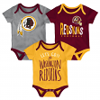 "Washington Redskins NFL ""Lil Tailgater"" Infant 3 Pack Bodysuit Creeper Set"