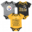 "Pittsburgh Steelers NFL ""Lil Tailgater"" Infant 3 Pack Bodysuit Creeper Set"