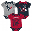 "Houston Texans NFL ""Lil Tailgater"" Infant 3 Pack Bodysuit Creeper Set"