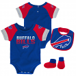 "Buffalo Bills NFL ""50 Yard Pass"" Infant Creeper, Bib & Bootie Set"
