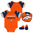 "Denver Broncos NFL ""50 Yard Pass"" Infant Creeper, Bib & Bootie Set"
