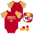 "Kansas City Chiefs NFL ""50 Yard Pass"" Infant Creeper, Bib & Bootie Set"