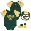 "Green Bay Packers NFL ""50 Yard Pass"" Infant Creeper, Bib & Bootie Set"