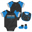 "Carolina Panthers NFL ""50 Yard Pass"" Infant Creeper, Bib & Bootie Set"