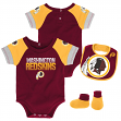 "Washington Redskins NFL ""50 Yard Pass"" Infant Creeper, Bib & Bootie Set"