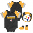 "Pittsburgh Steelers NFL ""50 Yard Pass"" Infant Creeper, Bib & Bootie Set"