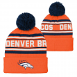 "Denver Broncos Youth NFL ""Goal Line"" Cuffed Knit Hat w/ Pom"