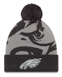 "Philadelphia Eagles New Era NFL ""Logo Whiz 3"" Cuffed Knit Hat with Pom - Gray"