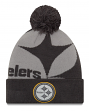 "Pittsburgh Steelers New Era NFL ""Logo Whiz 3"" Cuffed Knit Hat with Pom - Gray"