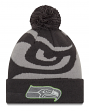 "Seattle Seahawks New Era NFL ""Logo Whiz 3"" Cuffed Knit Hat with Pom - Gray"