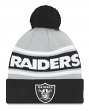 """Oakland Raiders New Era NFL """"Callout Pom"""" Cuffed Knit Hat with Pom"""