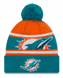 "Miami Dolphins New Era Youth NFL ""Junior Callout"" Cuffed Knit Hat with Pom"