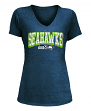 "Seattle Seahawks Women's New Era NFL ""Game Over"" Tri-Blend V-Neck Shirt"