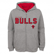 "Chicago Bulls Youth NBA ""Foundation"" Full Zip Hooded Sweatshirt - Gray"