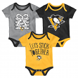 "Pittsburgh Penguins NHL ""Five on Three"" Infant 3 Pack Bodysuit Creeper Set"