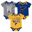 "St. Louis Blues NHL ""Five on Three"" Infant 3 Pack Bodysuit Creeper Set"