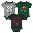 "Minnesota Wild NHL ""Five on Three"" Infant 3 Pack Bodysuit Creeper Set"