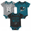 "San Jose Sharks NHL ""Five on Three"" Infant 3 Pack Bodysuit Creeper Set"