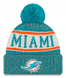 Miami Dolphins New Era 2018 NFL Sideline On Field Sport Knit Hat - Aqua