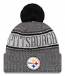 """Pittsburgh Steelers New Era 2018 NFL """"Sport Knit"""" Cuffed Hat with Pom - Graphite"""