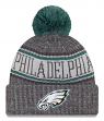 "Philadelphia Eagles New Era 2018 NFL ""Sport Knit"" Cuffed Hat with Pom - Graphite"