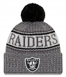 "Oakland Raiders New Era 2018 NFL ""Sport Knit"" Cuffed Hat with Pom - Graphite"