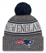 New England Patriots New Era 2018 NFL Sport Knit Cuffed Hat with Pom - Graphite