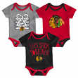 "Chicago Blackhawks NHL ""Five on Three"" Infant 3 Pack Bodysuit Creeper Set"
