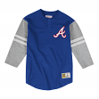"Atlanta Braves Mitchell & Ness MLB Men's ""Team Logo"" 3/4 Sleeve Henley Shirt"