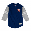"Houston Astros Mitchell & Ness MLB Men's ""Team Logo"" 3/4 Sleeve Henley Shirt"