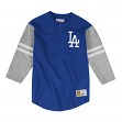 Los Angeles Dodgers Mitchell & Ness MLB Men's Team Logo 3/4 Sleeve Henley Shirt