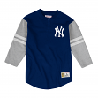 "New York Yankees Mitchell & Ness MLB Men's ""Team Logo"" 3/4 Sleeve Henley Shirt"