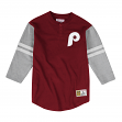 "Philadelphia Phillies Mitchell & Ness Men's ""Team Logo"" 3/4 Sleeve Henley Shirt"
