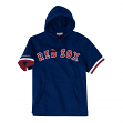 "Boston Red Sox Mitchell & Ness MLB Men's ""Drills"" Short Sleeve Hooded Sweatshirt"
