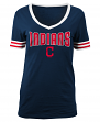 "Cleveland Indians Women's New Era MLB ""Ballgame"" V-Neck Short Sleeve Shirt"