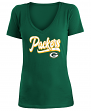 "Green Bay Packers Women's New Era NFL ""Sweep"" V-Neck Short Sleeve Shirt"