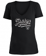 "Oakland Raiders Women's New Era NFL ""Sweep"" V-Neck Short Sleeve Shirt"